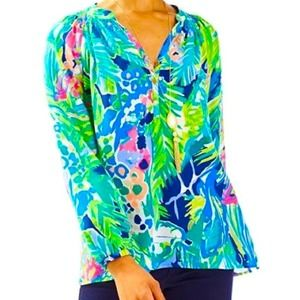 Lilly Pulitzer Elsa Top Purrfect 100% Silk NWT